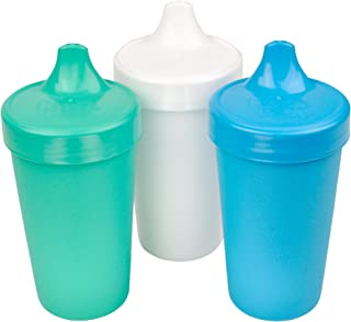 product image for Re-Play Made in USA 3pk No Spill Sippy Cups for Baby, Toddler, and Child Feeding in Aqua, White and Sky Blue | Made from Eco Friendly Recycled Milk Jugs - Virtually Indestructible (Cool Breeze)