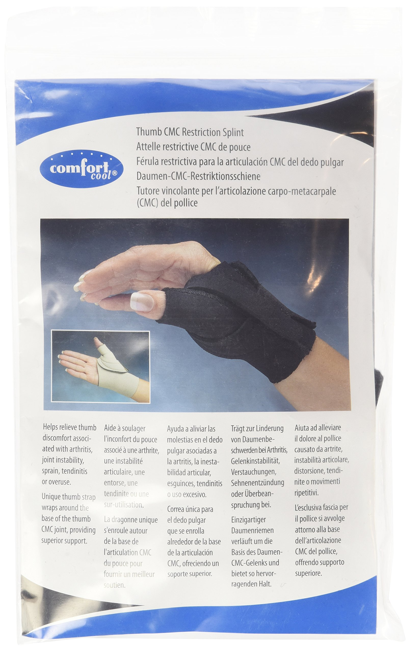 Comfort Cool Arthritis Thumb Splint-Black-Medium-Right