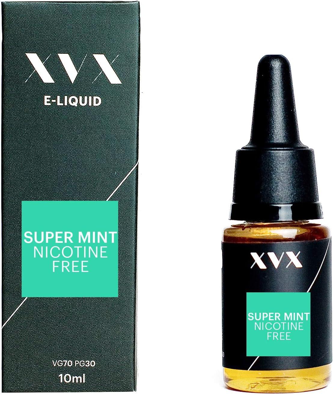 XVX E Liquid Super Mint Flavour Electronic Liquid For Vape Pen Cigarettes E Cigarette Shisha Vapouriser Liquid 10ml Nicotine Free Bottle Needle Tip Ecig E Cig