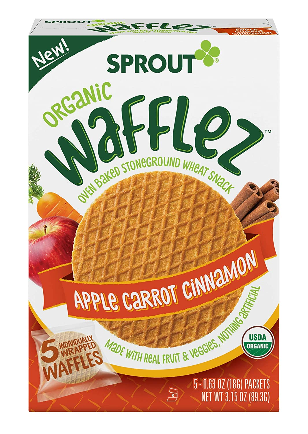 Sprout Organic Wafflez, Apple Carrot Cinnamon, (Each 5 Count of 0.63 oz Packets) 3.15 oz, Pack of 10