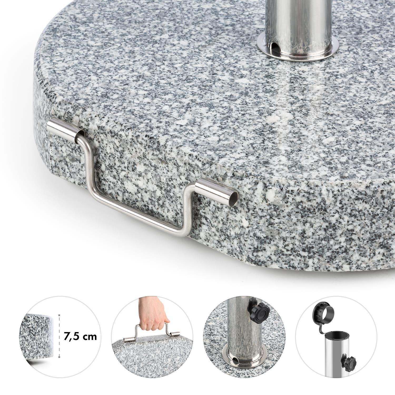 25 kg, Terrace Granite, Grey Polished Blumfeldt Schirmherr 25HSQ Sun Umbrella Stand