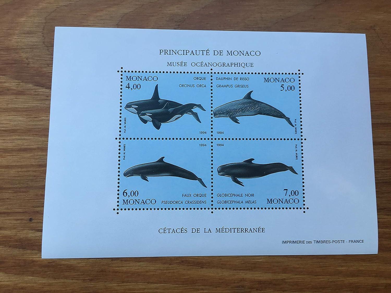 G/én/érique Timbre Monaco 1994 Feuillet 64 Neuf incluant Nos 1926 /à 1929 par des Livres Express Animaux Orque Dauphin