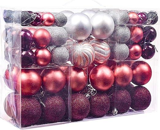 Victor S Workshop Weihnachtskugeln 100tlg Plastik Christbaumkugeln Set Christbaumschmuck Fur Weihnachtsbaum Weihnachtsdeko Hausdeko Mysterioser Palast Thema Rosa Lila Silber Mehrwegverpackung Amazon De Kuche Haushalt