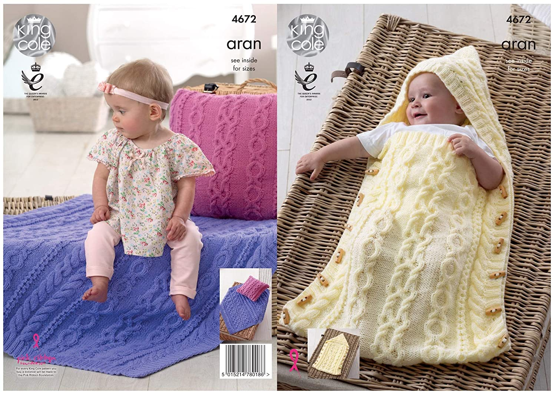 King Cole Baby Aran Knitting Pattern for Cable Knit Hooded Sleeping Bag Cushion & Blanket (4672): Amazon.es: Hogar