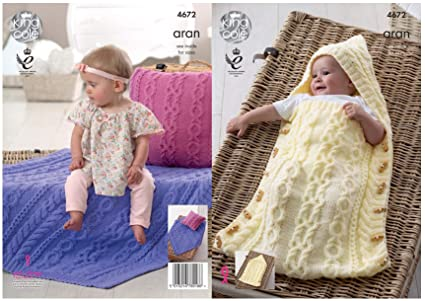 1af47c24b4c0 King Cole Baby Aran Knitting Pattern for Cable Knit Hooded Sleeping ...