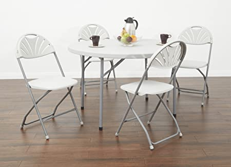 Set of 4 Office Star Resin Multi-Purpose Squared Folding Chair with Grey Accents