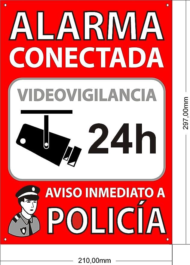 Cartel disuasorio interior/exterior, placa disuasoria de PVC expandido, cartel alarma conectada, 30x21 cm rojo : Amazon.es: Electrónica