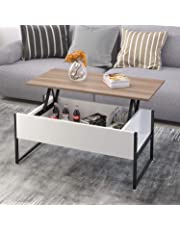 jeffordoutlet Coffee Table, Lift Up Top Wood & Metal Sturdy Home Table Furniture for Receiving, Dining, Studying with Hidden Storage