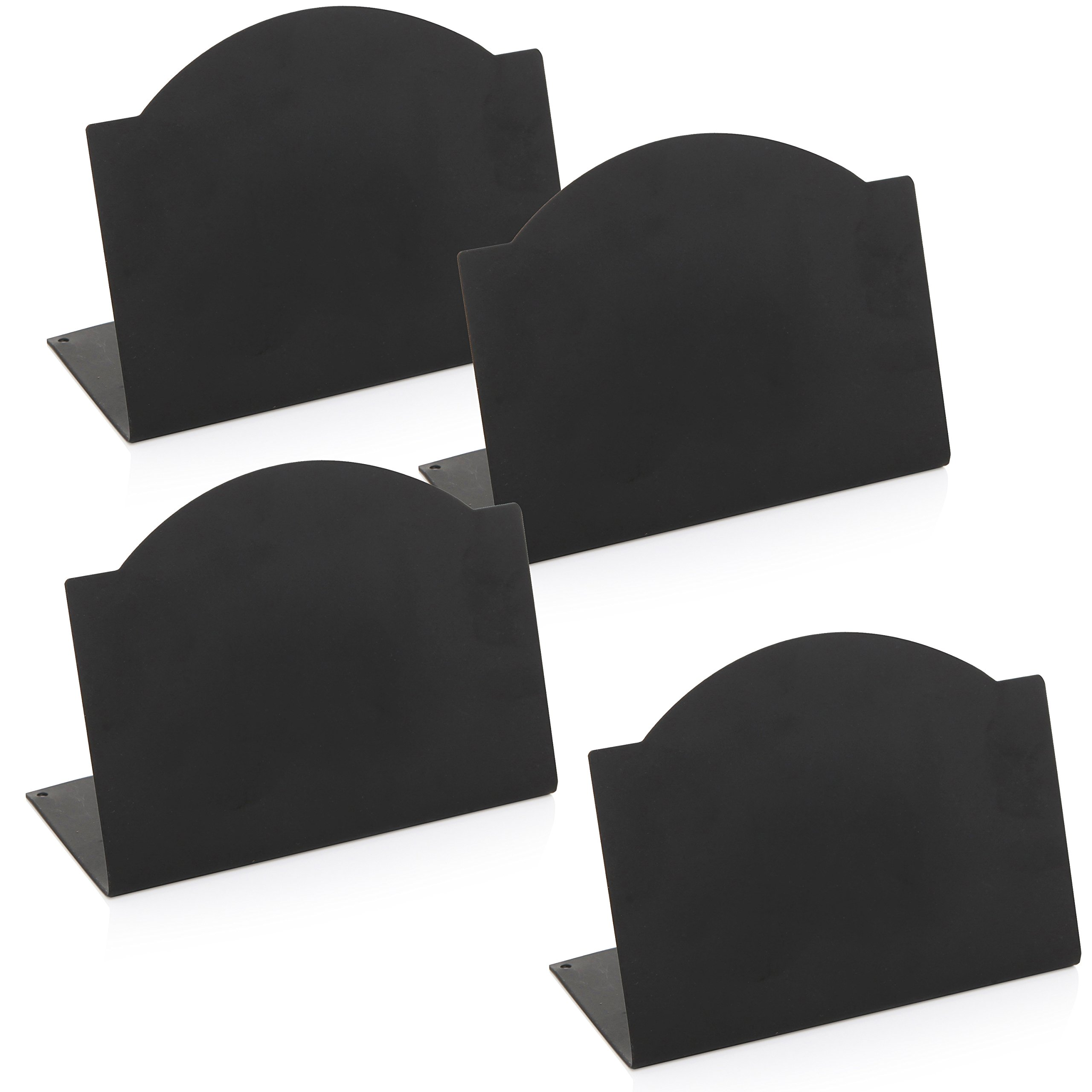 Freestanding Black Metal Erasable Chalkboard Place Card Signs, Small Memo Boards, (Set of 4) by MyGift (Image #4)