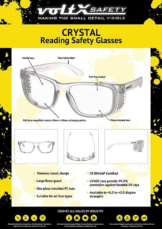 voltX Crystal Lunettes de s/écurit/é pour porteurs de Lunettes de Lecture Certifi/é CE Lentille UV400 +1,00 Dioptrie