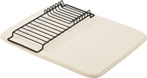 "AmazonBasics Drying Rack and Mat - 16"" x 18"" - Linen & Black"