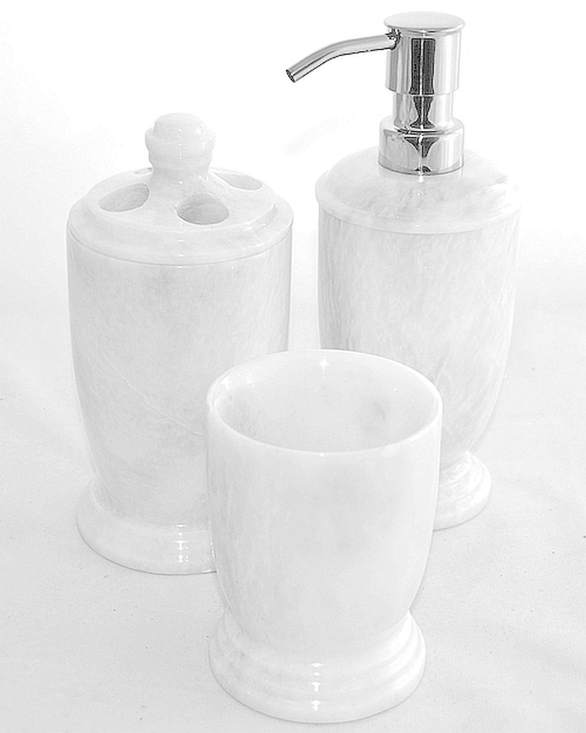 Nature Home Decor 300WZ3 White Marble 3-Piece Bathroom Accessory Set