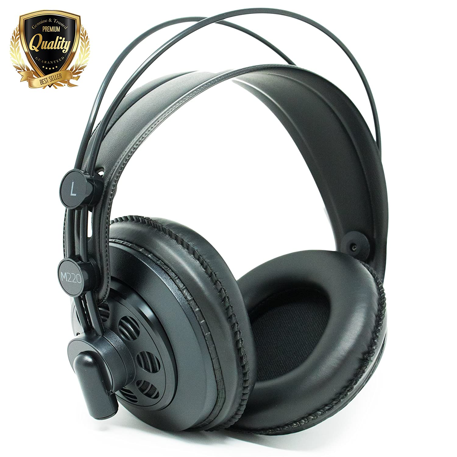 AKG M220 Pro Stylist Professional Large Diaphragm DJ Semi-Open High Definition Over-Ear Studio Headphones - Black 81Jcui-1khL