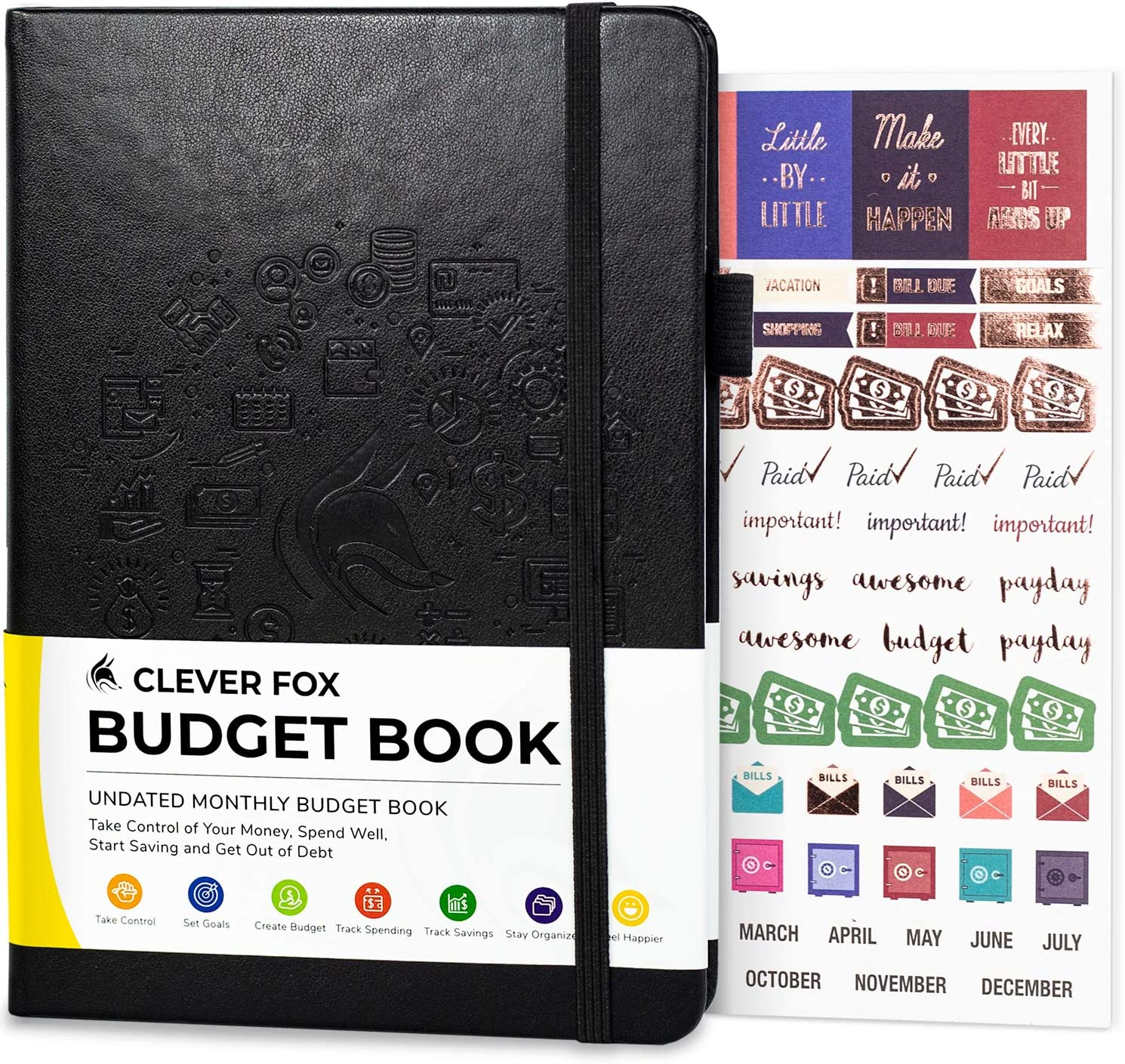 "Clever Fox Budget Book - Financial Planner Organizer & Expense Tracker Notebook. Money Planner Account Book for Household Monthly Budgeting and Personal Finance. Compact Size (5.3"" x 7.7"") - Black"