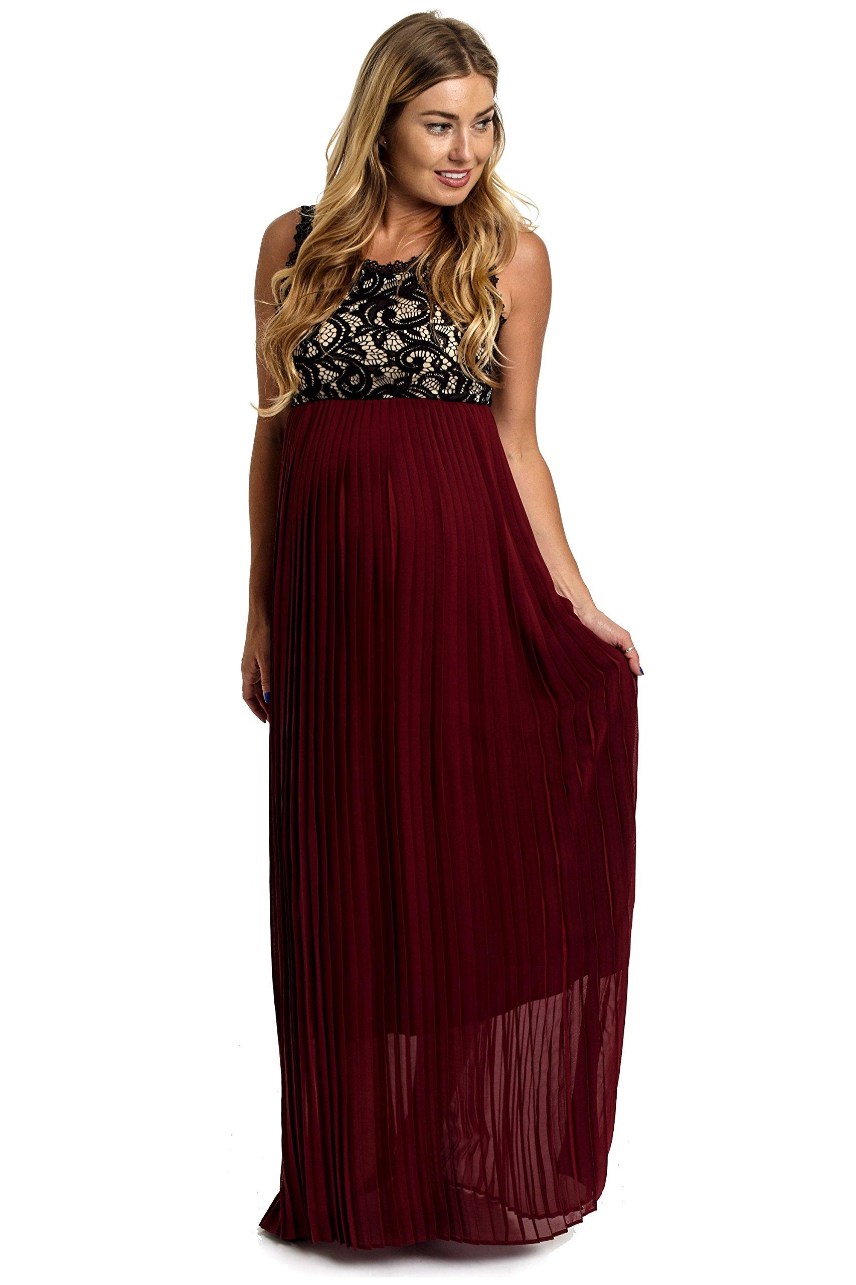 PinkBlush Maternity Burgundy Pleated Chiffon Lace Top Maternity Maxi Dress, SMA