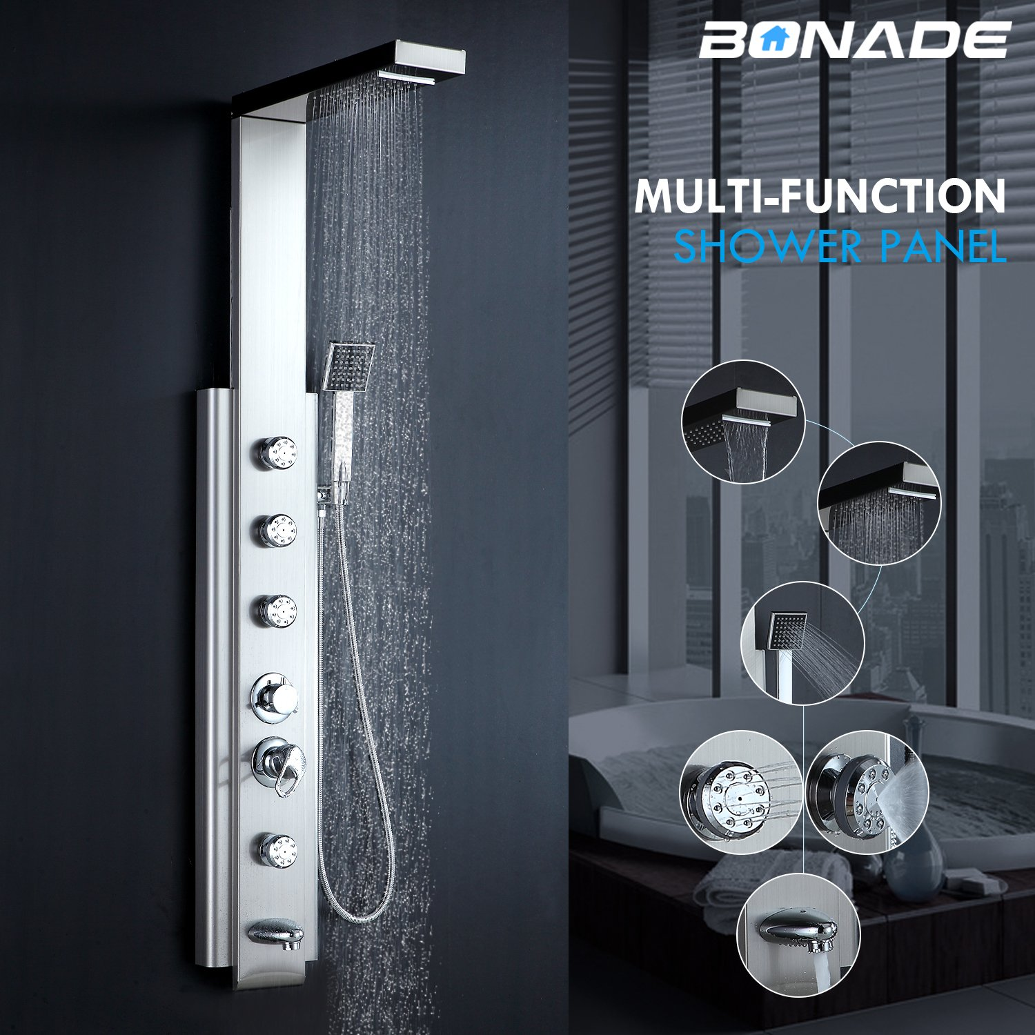 Bonade Stainless Steel Shower Panel with Waterfall, Massage Jets, 5 ...