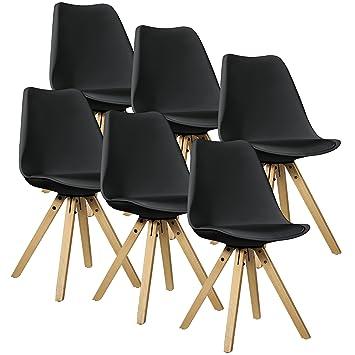 [en.casa]®] 6X sillas de Comedor Negras tapizadas - sillas de Cocina de Cuero sintético