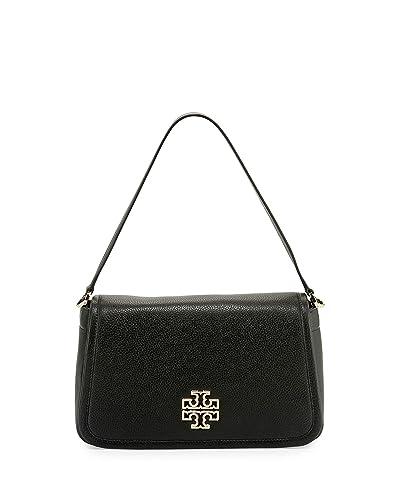 Amazon.com  Tory Burch Britten Shoulder Handbag Women s Leather Bag  (Black)  Shoes 5c3dee8ef4
