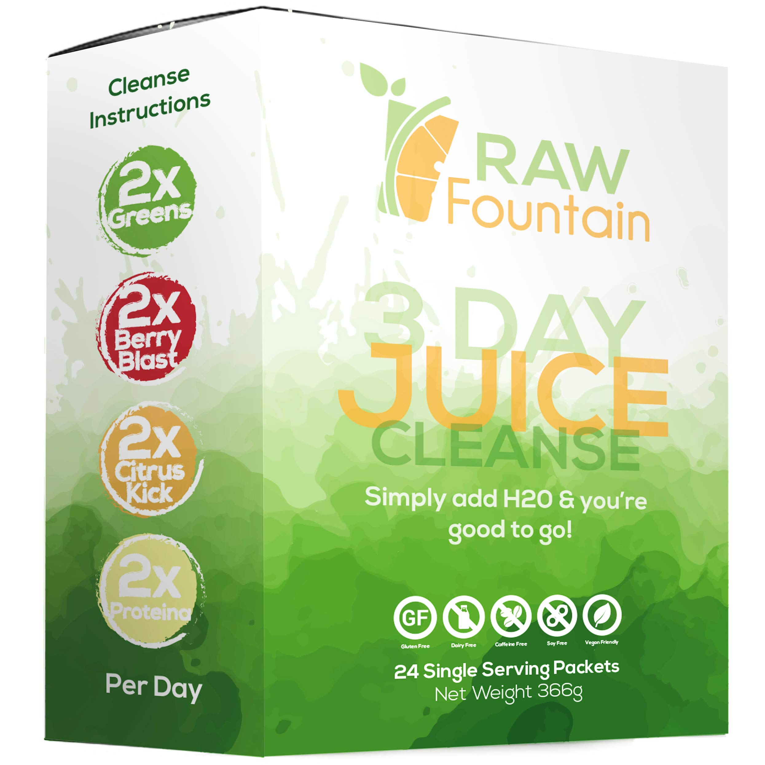 3 Day Juice Cleanse Detox, 24 Single Serving Powder Packets, Travel & Vegan Friendly, Weight Loss Program, All Natural (3 Day) by Raw Fountain