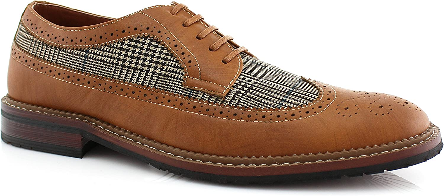 Ferro Aldo Peter MFA19312A Mens Perforated Lace Up Oxford Dress Classic Wingtip Dress Shoes