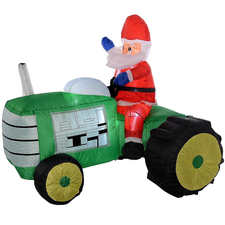 WeRChristmas - Tractor de Papá Noel hinchable con luces LED ...