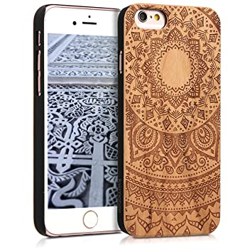 kwmobile Funda para Apple iPhone 6 / 6S - Carcasa de [Madera] - Case Trasero Protector [Duro] con diseño de Sol hindú