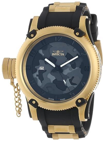 Amazon.com: Invicta Mens 11339 Russian Diver Grey and Black Camouflage Dial Black Polyurethane Watch: Invicta: Watches