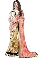 Nivah Fashion Women's Laycra & Rasalnet Half N Half Embroidery Saree (Pink)..K603