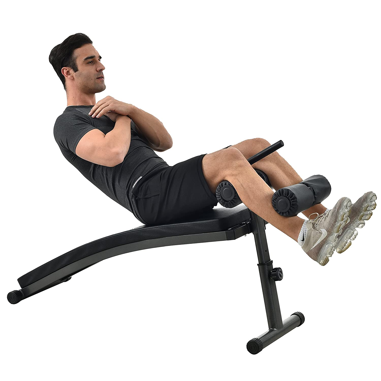 Finer Form Gym-Quality Sit Up Bench with Reverse Crunch Handle for Ab Exercises from
