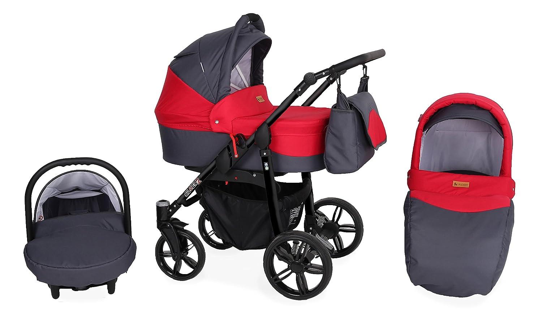 Cochecito Silver 3 piezas Rojo gris/chasis negro: Amazon.es: Bebé