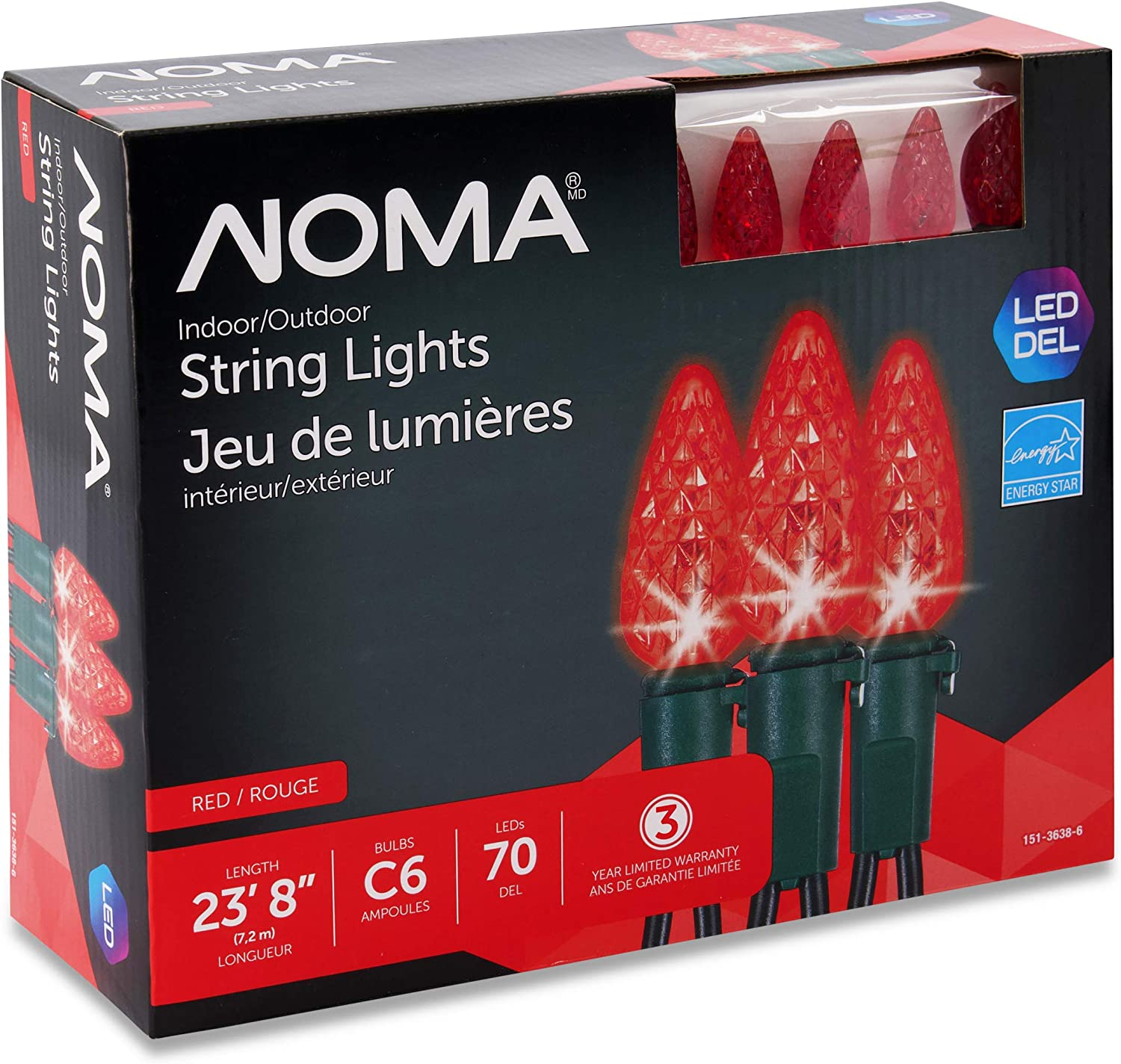 "NOMA LED Christmas Lights | 70-Count C6 Red Bulbs | 23' 8"" String Light 