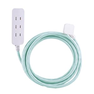 Cordinate Designer 3 Polarized Outlet Extension Cord with Surge Protection, Mint Braided Décor Fabric Cord, 10 ft, Low-Profile Plug with Tamper Resistant Safety Outlets, 37912