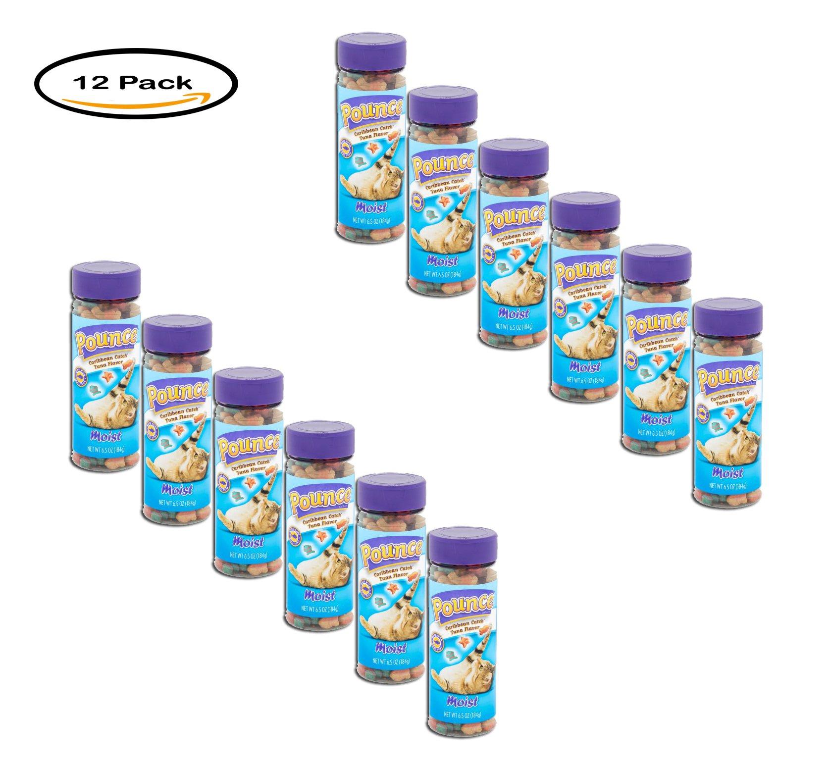 PACK OF 12 - Pounce Caribbean Catch Moist Tuna Flavor Cat Treats, 6.5 oz