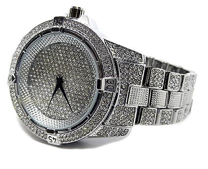 Bling Millionaires, Reloj HipHop con correa chapada en oro y bisel de diamantes falsos: Amazon.es: Relojes
