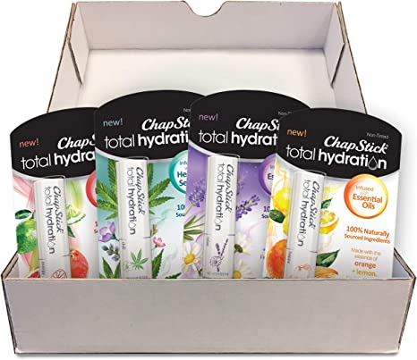 Chapstick Total Hydration, 100% Natural Essential Oils Set - Collection of 4 Lip Balm Tubes 0.12 oz Each