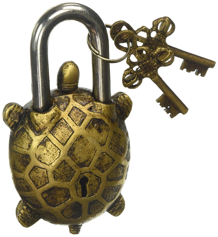 Owl-Brass-098 Parijat Main Fonctionnelle Laiton Superbe Cadenas avec Deux Cl/és de Serrure Or