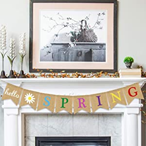 Hello Spring Banner Burlap - Rustic Spring Banner Garland - Spring Decorations - Indoor Outdoor Mantel Fireplace Hanging Decor