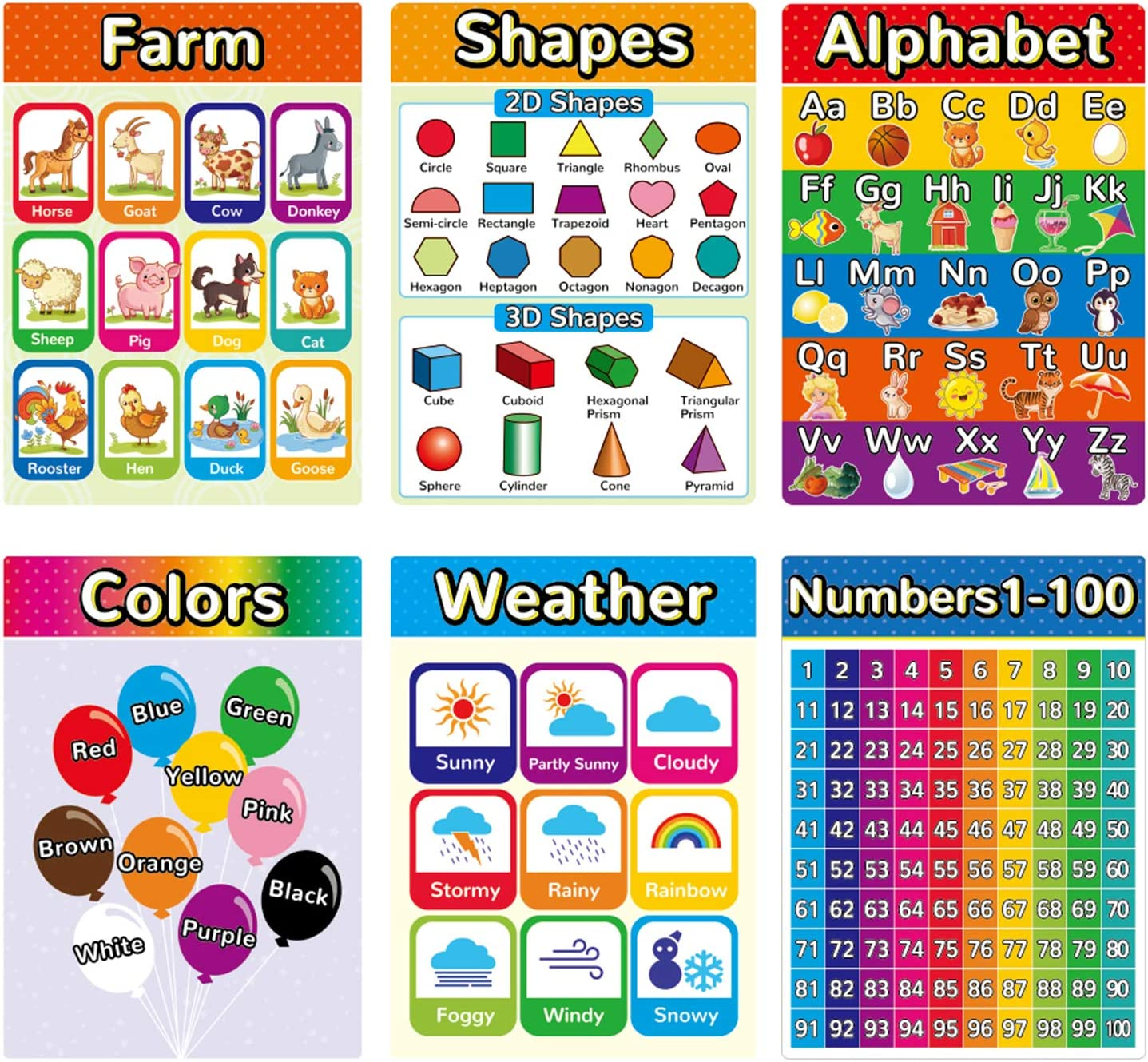 Educational Posters for Kindergarten Kids Learning Preschool Posters Classroom Decorations Elementary, Kindergarten Educational Materials, Home Schooling Materials Include Alphabet Color(6 Pack)