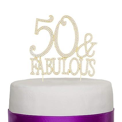Número 50 Decoración para torta Topper Dorado 50 años Fiesta de Cumpleaños o de Aniversario Diamantes de imitación Pedrería