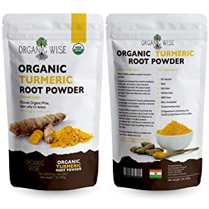 1 lb Organic Turmeric Root Powder by Organic Wise, Minimum 6.9% Curcumin Content.Packed in the USA, From India-Resealable Pouch