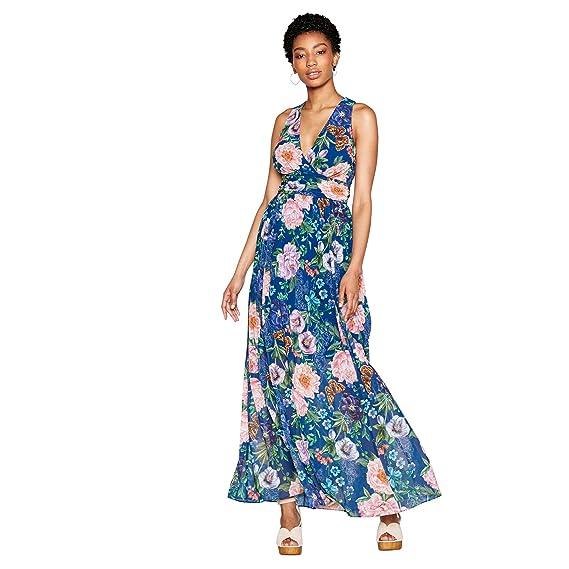 1e20bb0012 Mw by Matthew Williamson Womens Navy Floral Print 'Verity' V-Neck Maxi Dress
