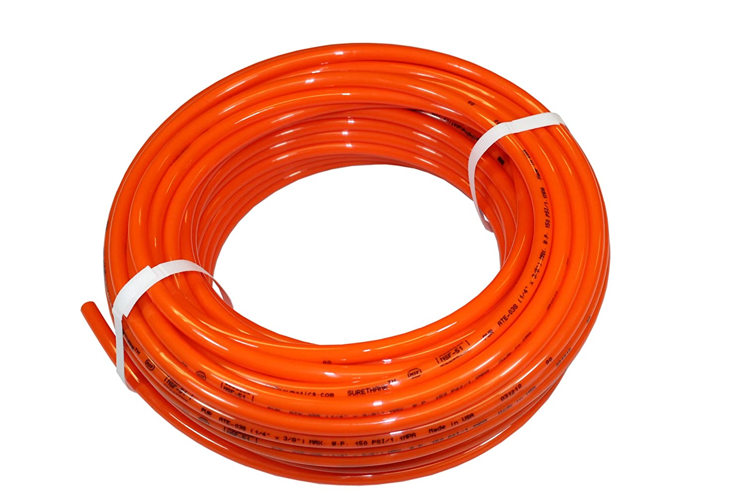 ATP 6.5 mm ID x 10 mm OD PU10MEOR ATP Surethane Polyurethane Metric Plastic Tubing 25 meters Length Advanced Technology Products Orange