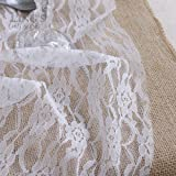Ling's moment White Lace Fabric Ribbon Roll 12 inch x 24 Yards for Burlap Lace Table Runner Boho Vintage Woodland Greenery Wedding Bridal & Baby Shower Party Decor Decorations