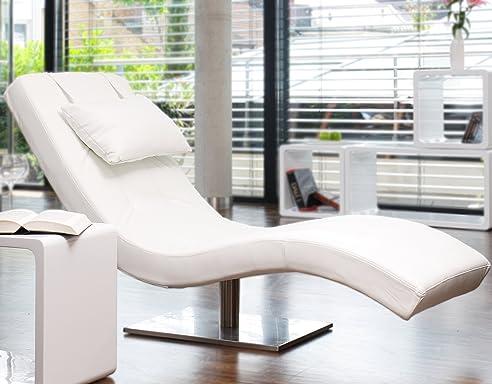 designer liege chaise longue aus kunstleder wei mit vernickeltem gestell siara relax - Liege Chaiselongue