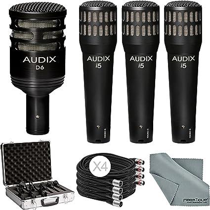 Audix DP4 instrumento micrófono Pack con 3 x i5 micrófono + D6 Set ...