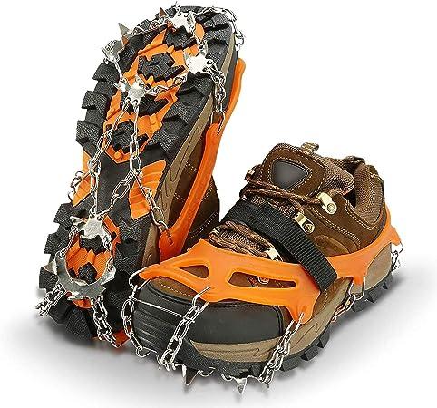 IPSXP Crampones, 19 Dientes Tacos de tracción Nieve y Hielo Tracción para Invierno Deportes Montañismo Escalada Caminar Alpinismo Cámping Acampada ...