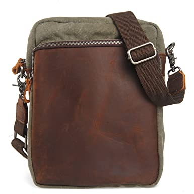fce4820978 EcoCity Small Vintage Leather Canvas Crossbody Messenger Shoulder Bag (Army  green)