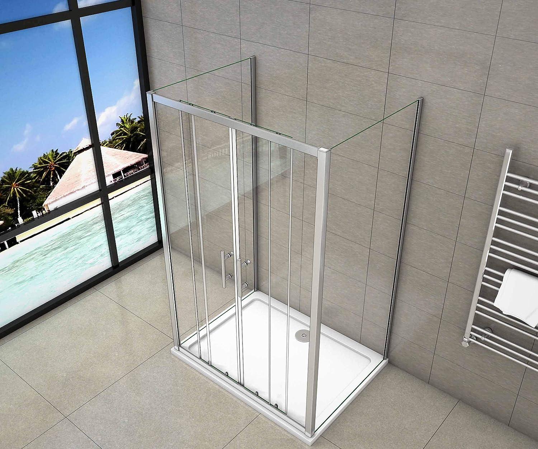 Box Doccia A 3 Lati Porta Scorrevole 2 Ante Mobili 2 Pareti Laterali Cristallo Trasparente Da 5mm 140x80x80cm Alto 190cm