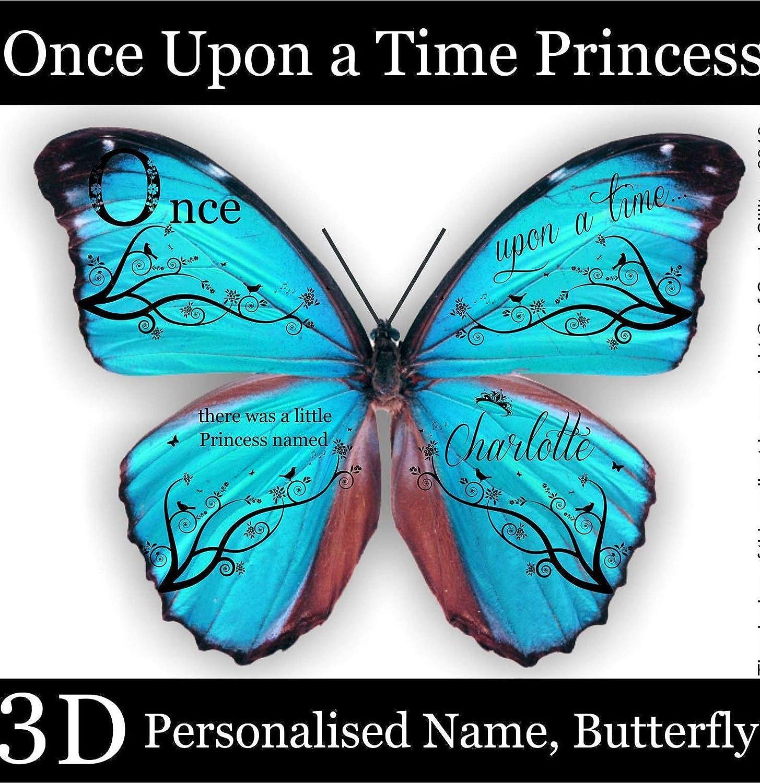 Nombre personalizado Princesa, Vinilo decorativo de vinilo para pared, Mural, Calcomanía, pegatinas de pared, Con mariposas en 3D.