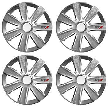 "UKB4C 4 x GTX Wheel Trims Hub Caps 16"" Covers fits Renault Clio Megane Twingo"